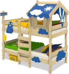 WICKEY Kinderbed, Stapelbed CrAzY Daisy blauw dekzeil, Houten bed 90 x 200 cm