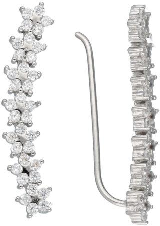 Afbeelding van Classics&More Lovenotes oorbellen - earcuffs - oorklimmer - zilver - gerodineerd - sterren - zirkonia