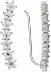 Classics&More Lovenotes oorbellen - earcuffs - oorklimmer - zilver - gerodineerd - sterren - zirkonia