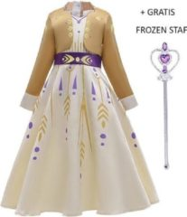 Prinsessenjurk.nl Luxe Frozen 2 Anna prinsessen jurk goud-geel + gratis Frozen Anna vlechten 122/128 (130) 7-8 jaar