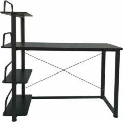 VDD Industrial Vintage Design Bureau computertafel - 3 opbergplanken - metaal hout - zwart - 120 cm breed