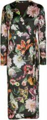 Donkerbruine Essenza Vera Filou fleece badjas met bloemenprint