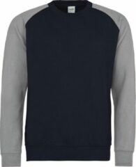 Marineblauwe AWDis Just Hoods Baseball sweatshirt, Kleur Oxford Navy/ Heather Grey, Maat M