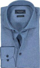 Profuomo Slim Fit jersey overhemd - blauw melange knitted shirt - Strijkvrij - Boordmaat: 40