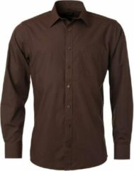 James & Nicholson James and Nicholson Heren Longsleeve Poplin Shirt (Bruin)