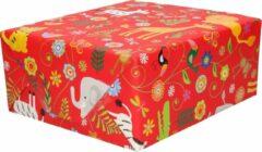 Bella 4x rollen inpakpapier/cadeaupapier rood dierentuin dieren - 200 x 70 cm - Cadeauverpakking kadopapier