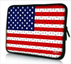 Rode False Sleevy 17,3 laptophoes USA vlag patroon - Laptop sleeve - Macbook hoes - beschermhoes
