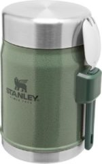 Groene Stanley PMI Stanley The Legendary Food Jar + Spork 0,4L - Thermosfles - Hammertone Green