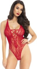 Leg Avenue fishnet stringbody met veterdetail rood