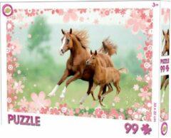 Toy Universe Paarden puzzel - 99 stukjes - Paard met veulen puzzle - 33 x 22 cm.