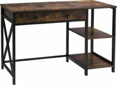 VASAGLE Bureau, grote computertafel, stabiel metalen frame, multifunctioneel, voor thuiskantoor, woonkamer, werkkamer, robuust, opberging, vintage bruin-zwart