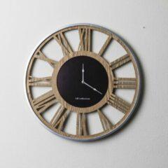 Bruine LW Collection XXL Houten moderne ronde wandklok hout 80cm - Myrella Houten muurklok - Houten klok
