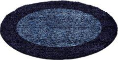 Marineblauwe Himalaya Basic Rond Shaggy Kader vloerkleed Blauw Hoogpolig - 120 CM ROND