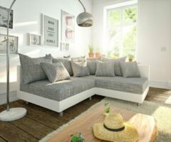 Licht-grijze DELIFE Hoekbank Clovis wit lichtgrijs ottomane rechts hoekbank modulair