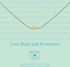 Heart to get N11CRO11G-2 Ketting Cross Love Hope & Protection zilver goudkleurig