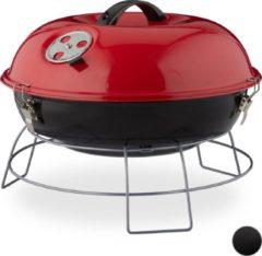 Relaxdays Kogelbarbecue - houtskoolbarbecue - kogelgrill - deksel - rond - draagbaar rood