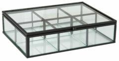 THEEDOOS Zwart Glas en Metaal 20x15x5 cm