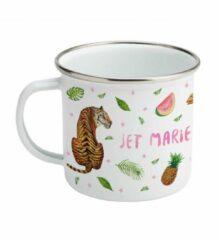 Beige Mies To Go Emaille mok met naam - kameel tijger olifant - Gepersonaliseerde drinkbeker - kraamcadeau - Dieren in aquarel - geschilderd door Mies