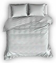 Warme Flanel Tweepersoons Dekbedovertrek Stripe Grijs/Wit | 200x200/220 | Hoogwaardig En Zacht | Ideaal Tegen De Kou