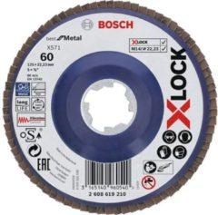 Bosch Accessories 2608619210 X-LOCK waaierslijpschijf, rechte uitvoering, kunststof draagplaat à 125 mm, K60, X571, Best for Metal à 125 mm 1 stuk(s)