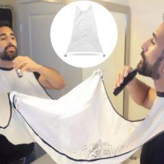 Baard Schort - Beard Bib - Scheerschort - Baard Scheren - Baard Accessoires - Baard trimmen - Wit