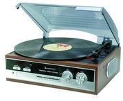 Soundmaster PL186H Nostalgie Plattenspieler mit Radio, eingebaute Stereolautsprecher