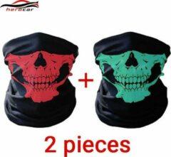Rode Elemental GOods 2 Stuks Luxe Biker Mask - Fietsmasker - Motormasker - Bandana - Balaclava - Gezichtsmasker - Bivakmuts