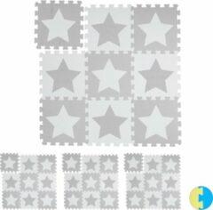 Relaxdays 36 x puzzelmat ster - speelmat - speelkleed - vloerpuzzel - speeltapijt – grijs
