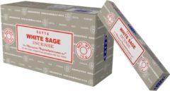 Zandkleurige Nag champa Wierook Satya White Sage / witte salie 12 pakjes
