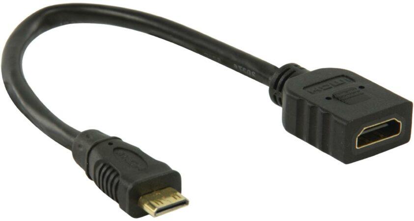 Afbeelding van Valueline HDMI-mini C - HDMI, 0.2m HDMI kabel 0,2 m HDMI Type C (Mini) HDMI Type A (Standard) Zwart