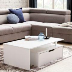 Wohnling Couchtisch mit Schublade MDF-Holz weiß 100 x 36 x 60 cm modern Design Wohnzimmertisch flach mit Stauraum Loungetisch Kaffeetisch