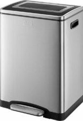 Zilveren Discountershop Black+Decker Pedaalemmer - 2 x 20L - RVS - soft close - losse binnenemmers 40 Litre