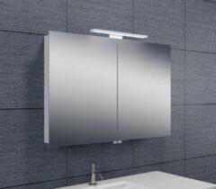 Douche Concurrent Spiegelkast Larissa 90x60x14cm Aluminium LED Verlichting Stopcontact Binnen en Buiten Spiegel Glazen Planken