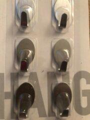 Roestvrijstalen VITA Handoek plakhaakjes rvs 6 stukt 3 cm hoog - 1.7 cm lang r