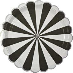 Zilveren Kartonnen borden - Strepen - Zwart - Meri Meri - 8 stuks - 23cm
