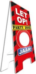 Rode Fanshop Warning Sign Party Zone Jaar! Zelf invullen