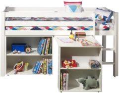 Witte Emob Halfhoogslaper Charlotte wit met bureau en boekenkast