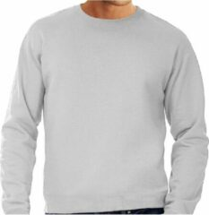Fruit of the Loom Grote maten sweater / sweatshirt trui grijs met ronde hals voor heren - grijze - basic sweaters 3XL (58)
