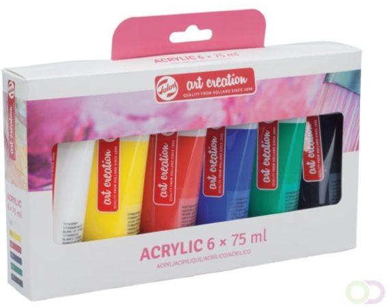 Afbeelding van Talens Art Creation acrylverf tube van 75 ml, set van 6 tubes in geassorteerde kleuren