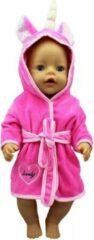 Isa's Friends Poppenkleding meisje - Kleertjes geschikt voor o.a. BABY born - Felroze - Unicorn - Badjas - Poppenkleertjes 43 cm