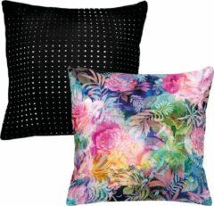 Roze Melli Mello - sierkussen - Tropical Night - Stippen - Kleuren - Bloemen