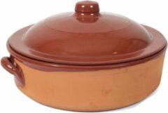 Bruine Merkloos / Sans marque Stenen ovenschaal/braadpan met deksel Salamanca 31 cm - Terracotta ovenschalen/braadpannen