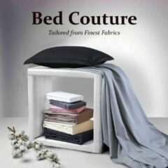 Antraciet-grijze Bed Couture - Fijnste Mako-satijn - Pak van 2 - Oxford kussenslopen 100% puur Egyptisch gemerceriseerd katoen - Met hotel sluiting - Extra zacht gevoel, zijdezacht - Antraciet Kussensloop 80x80