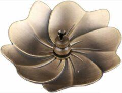 DW4Trading® Wierook kegel houder blad vorm bronskleur 9cm