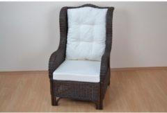 Möbel direkt online Moebel direkt online Sessel Rattansessel handgeflochten, Nostalgiesessel braun mit Kissenauflagen