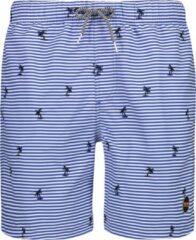 Blauwe Shiwi Men Swim Short Striped Palm - bali blue - m