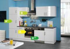 HELD Möbel Küchenzeile City 280 cm Hochglanz weiß - inkl. E-Geräte