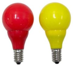 Rode Konstsmide LED Lichtbron, voor kogellampsnoeren E14, rood/geel, 2 op blister - Ko
