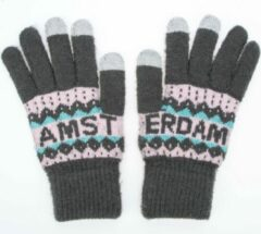 Robin Ruth Handschoenen Vrouwen Amsterdam grijs roze smart touch