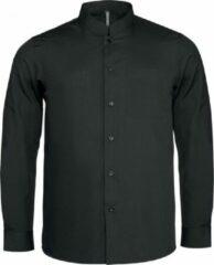 Kariban Heren Lange Mouw Mandarijn Kraag Shirt (Zwart)